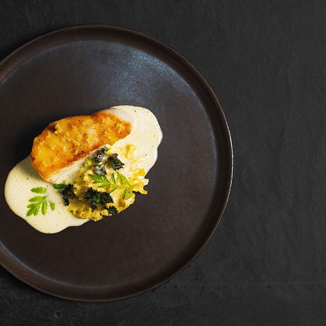 📸: @akaiserlauritzen @the_platings  Food: head-chef, @martinolsensen We never got tired of this dish. We simply ran out of the picked elder flowers and fresh kale sprouts. From this spring's menu: Fried cod with pickled elder flowers, browned butter emulsion topped with fresh kale sprout. And of course a beurre blanc made on the vinegar from the eldeflower and on the bones of the cod. #finedining #chef #marvogben #bibgourmand #visitcopenhagen #cod #elderflower #kale