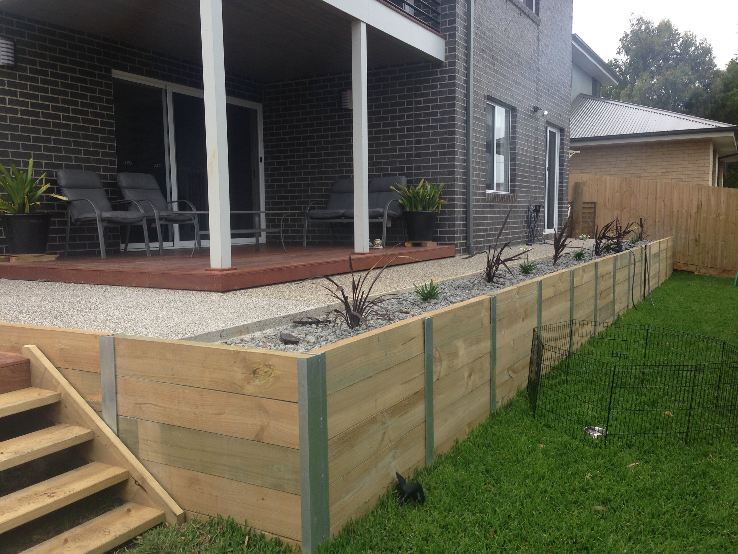 Finished Steel post and treated pine sleepers retaining wall in Jan Juc.