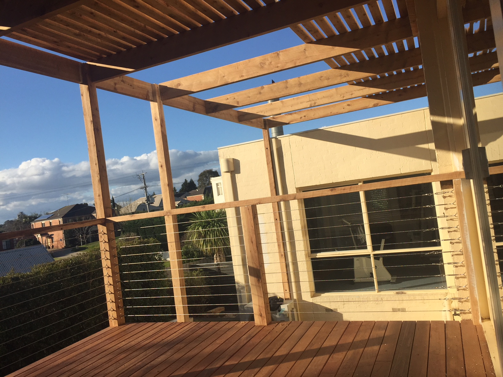 Merbau Deck with cypress balustrade and stainless steel wire with cypress open pergola and shade battens