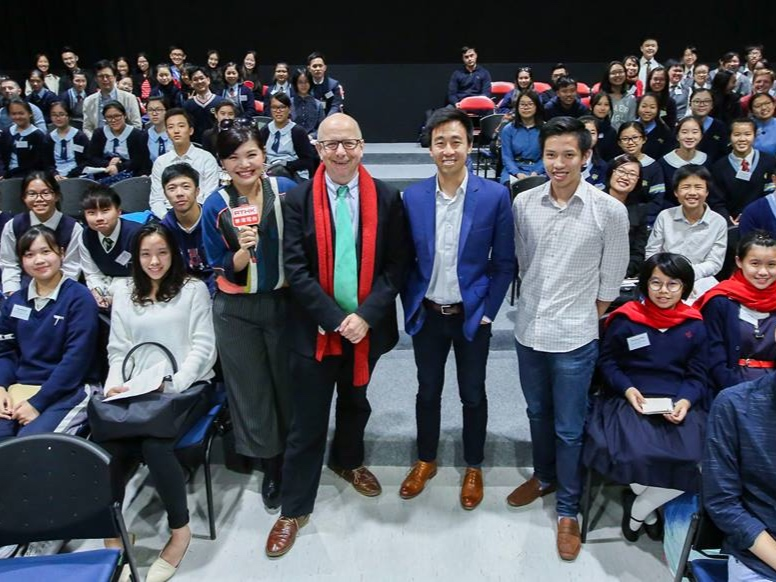 Our panel of judges, consisting of Founder and President Joseph Wan, SCMP CEO and Foundation Board Director Gary Liu, and RTHK's Head of English Programme Services Hugh Chiverton, with the student groups