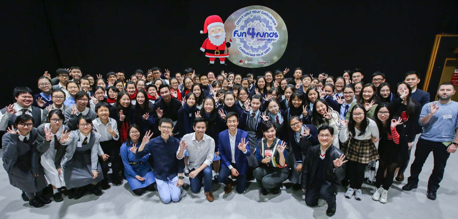 Group picture with all participants and the judges     (Gary Liu, CEO of South China Morning Post and a Foundation Board Director, front 3rd right; Joseph Wan, Founder & President Joseph Wan, front 2nd left; Vice President, Community Development Alex Yu, front 1st left; and Alyson Hau, Host of TeenTime at RTHK, front 2nd right)