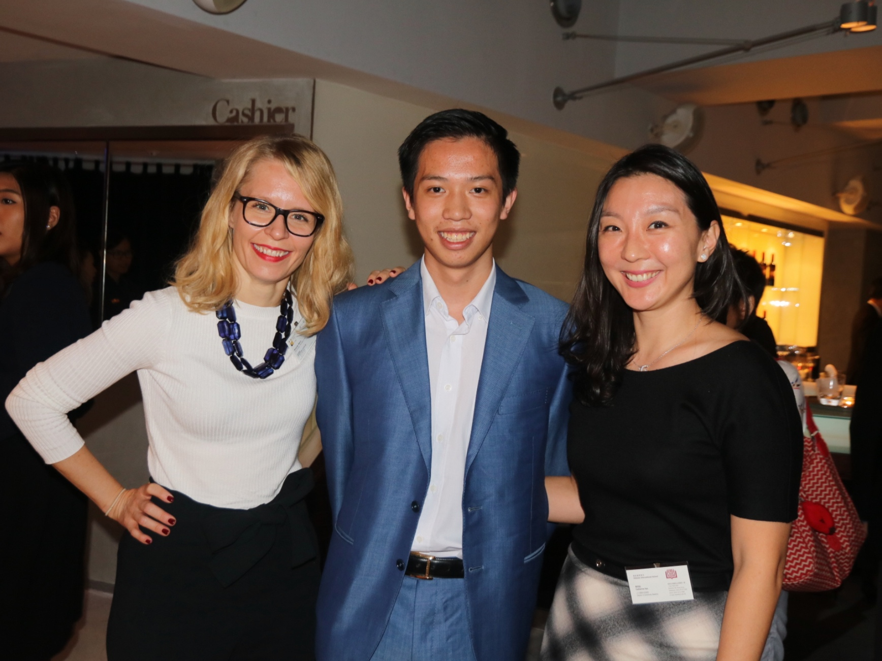Founder & President Joseph Wan (middle) with Catherine Han (Director of Community Relations, CIS) and Brandy Stern (Vice Principal, RCHK)