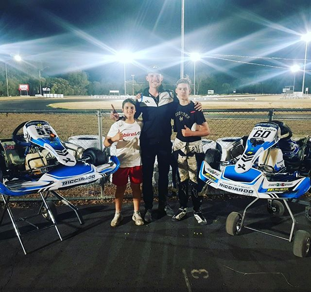 Clean sweep 🧹 by @riley.trager and @lucanici55 in KA3 at the Coastal Classic, killer performance boys! | #calibremotorsport @ricciardo_kart