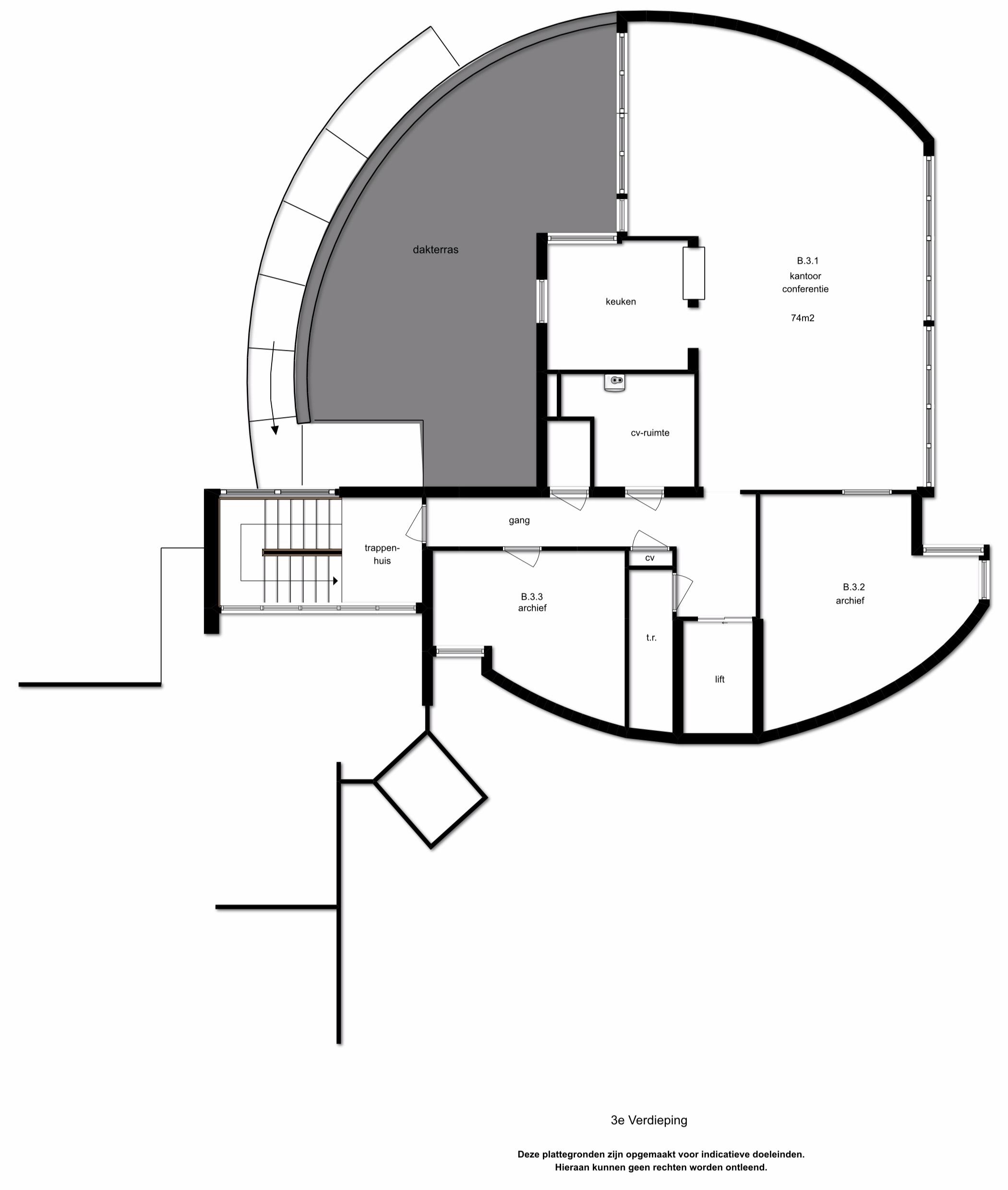 3e Verdieping - Gemeenschappelijk vergader/kantine ruimte met keuken. Personenlift en twee trappenhuizen. Daarnaast is de 3e verdieping voorzien van kantoorruimten van diverse afmetingen en een toilet.TL-inbouwarmaturen, kabelgoten/datalijnen en stoffering. Aluminium kozijnen met isolerende beglazing.