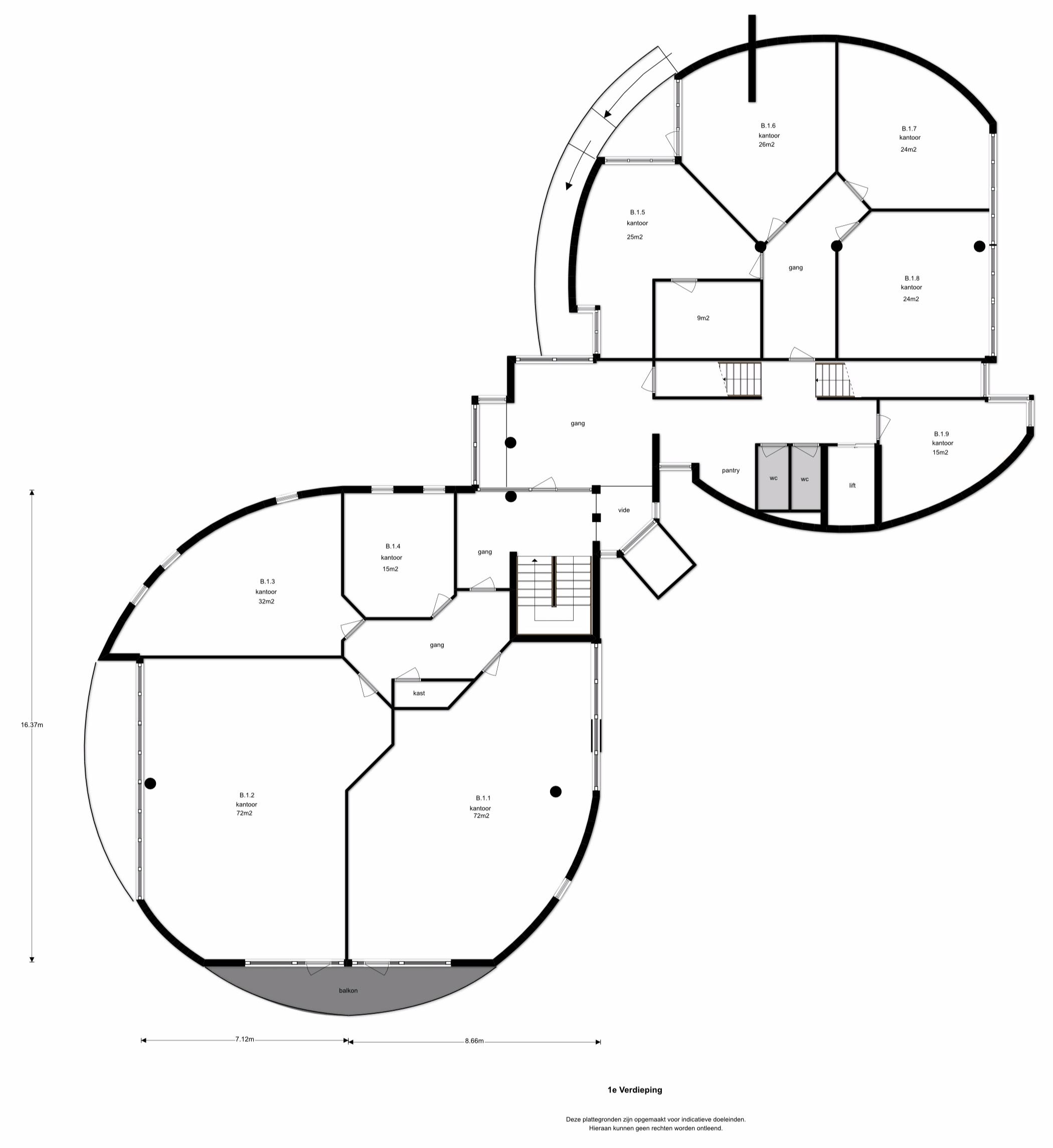 1e Verdieping - Personenlift en twee trappenhuizen. Kantine/pantry. Gescheiden dames- en herentoiletten per bouwlaag. Kantoorruimten van diverse afmetingen voorzien van een systeemplafond met TL-inbouwarmaturen, kabelgoten/datalijnen en stoffering. Aluminium kozijnen met isolerende beglazing.