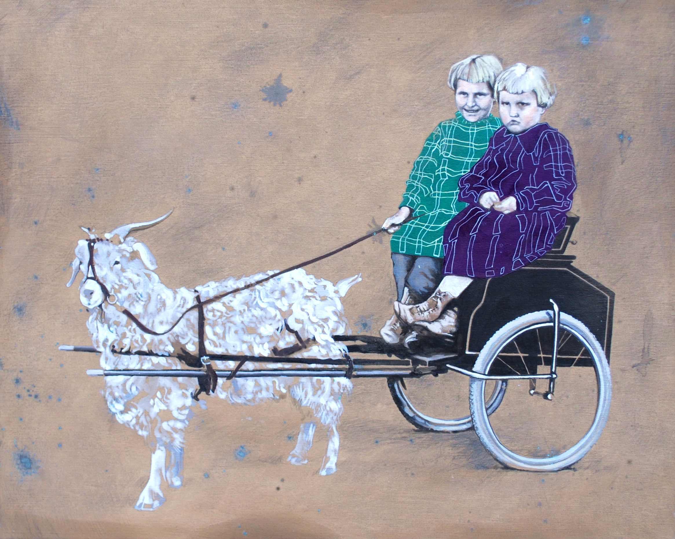Girls on goat cart