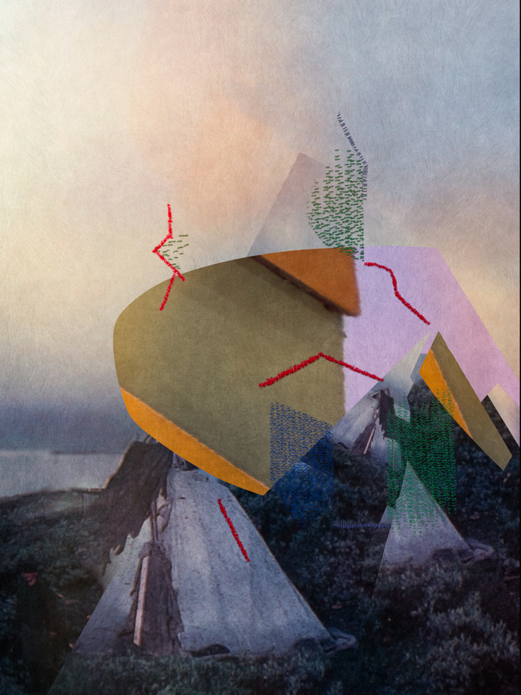 Triangles and Stitches on old Photograph, 2016