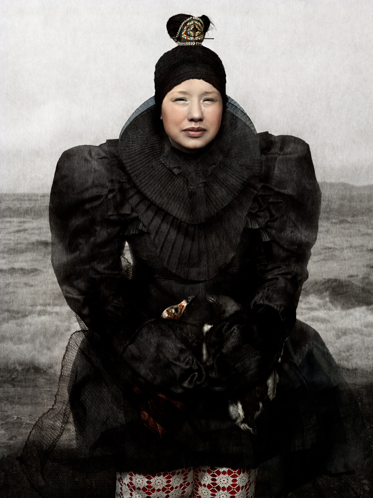 Malu at the Nuup Kangerlua Fjord Holding Two Spit Skinned Birds, 2014