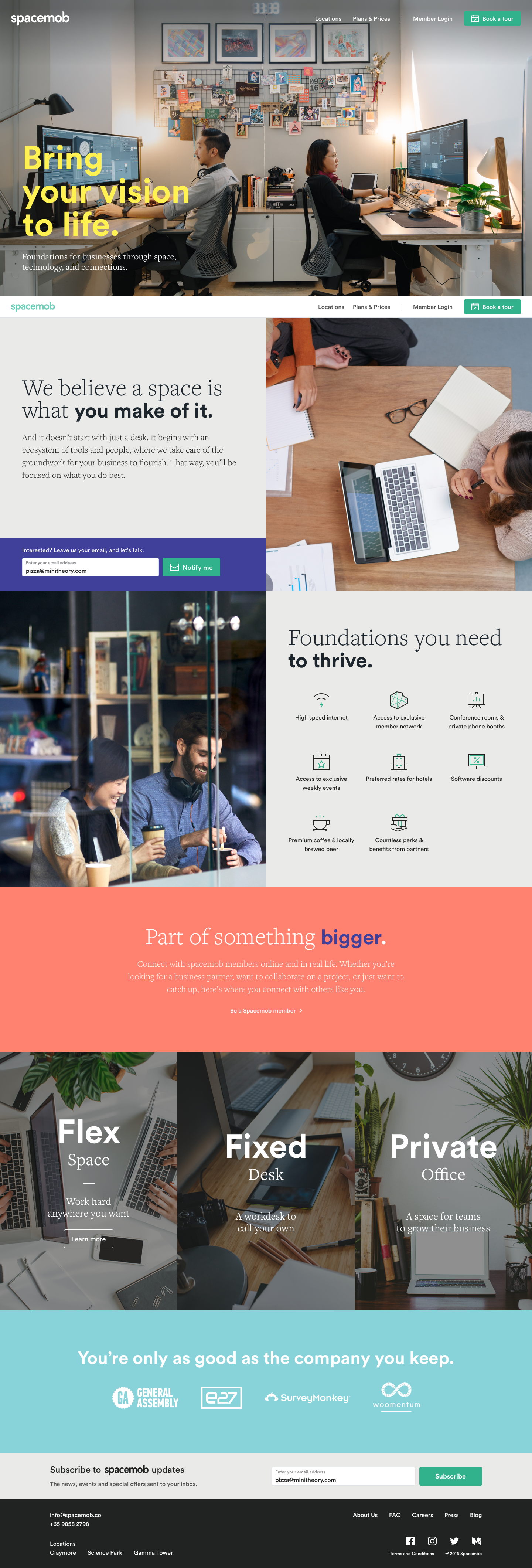 The final homepage design