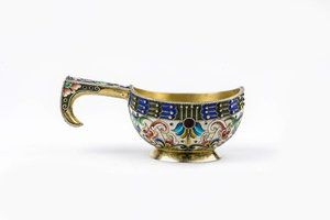 An astonishing Russian silver enamel kovsh by Feodor Ruckert. For Price Please Inquire