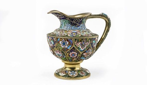 Russian gilded silver and shaded enamel creamer, Feodor Ruckert, Moscow, circa 1900.  For price please inquire.