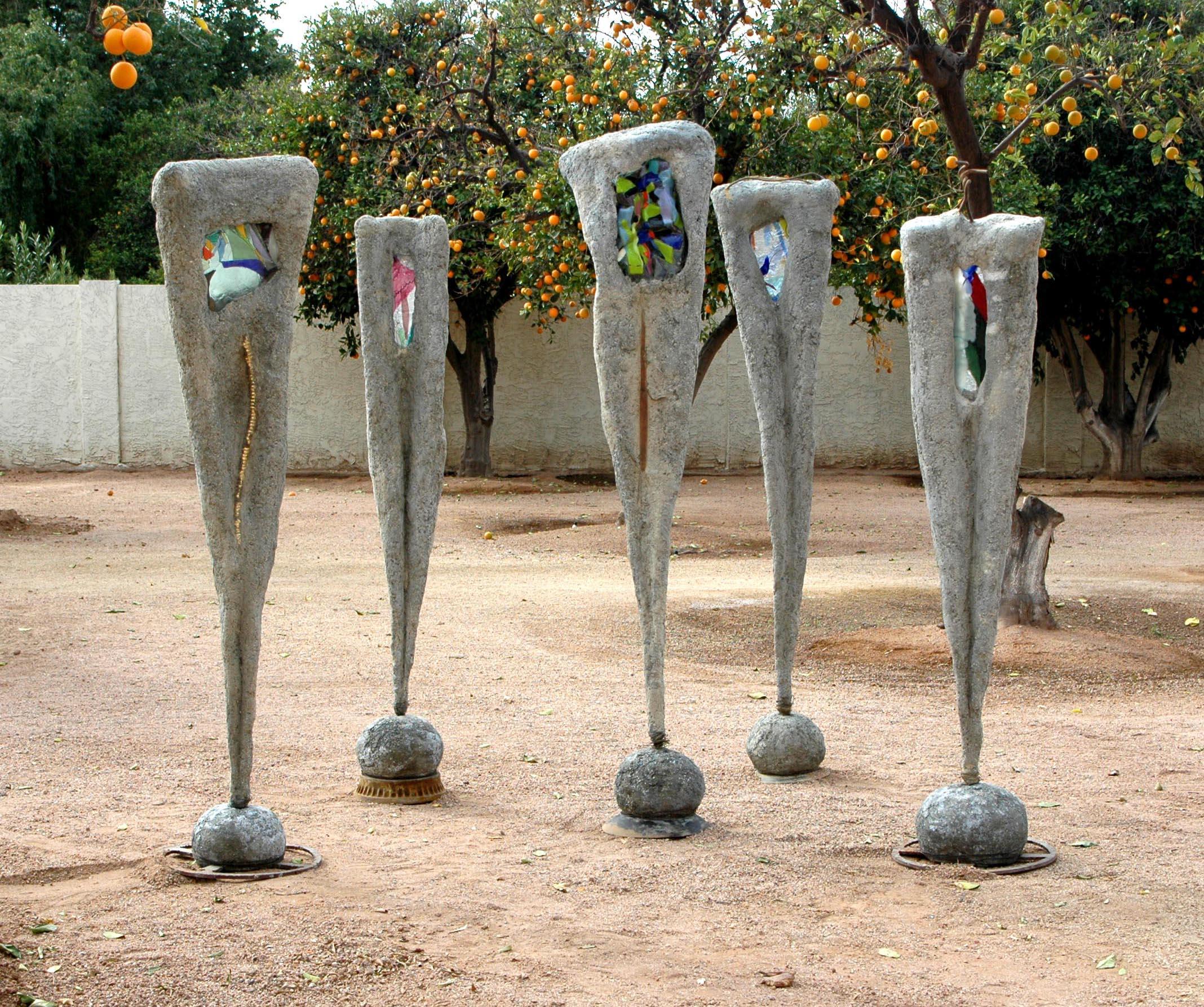 Larry Mclaughlin, Sculpture Group, concrete, glass.jpg
