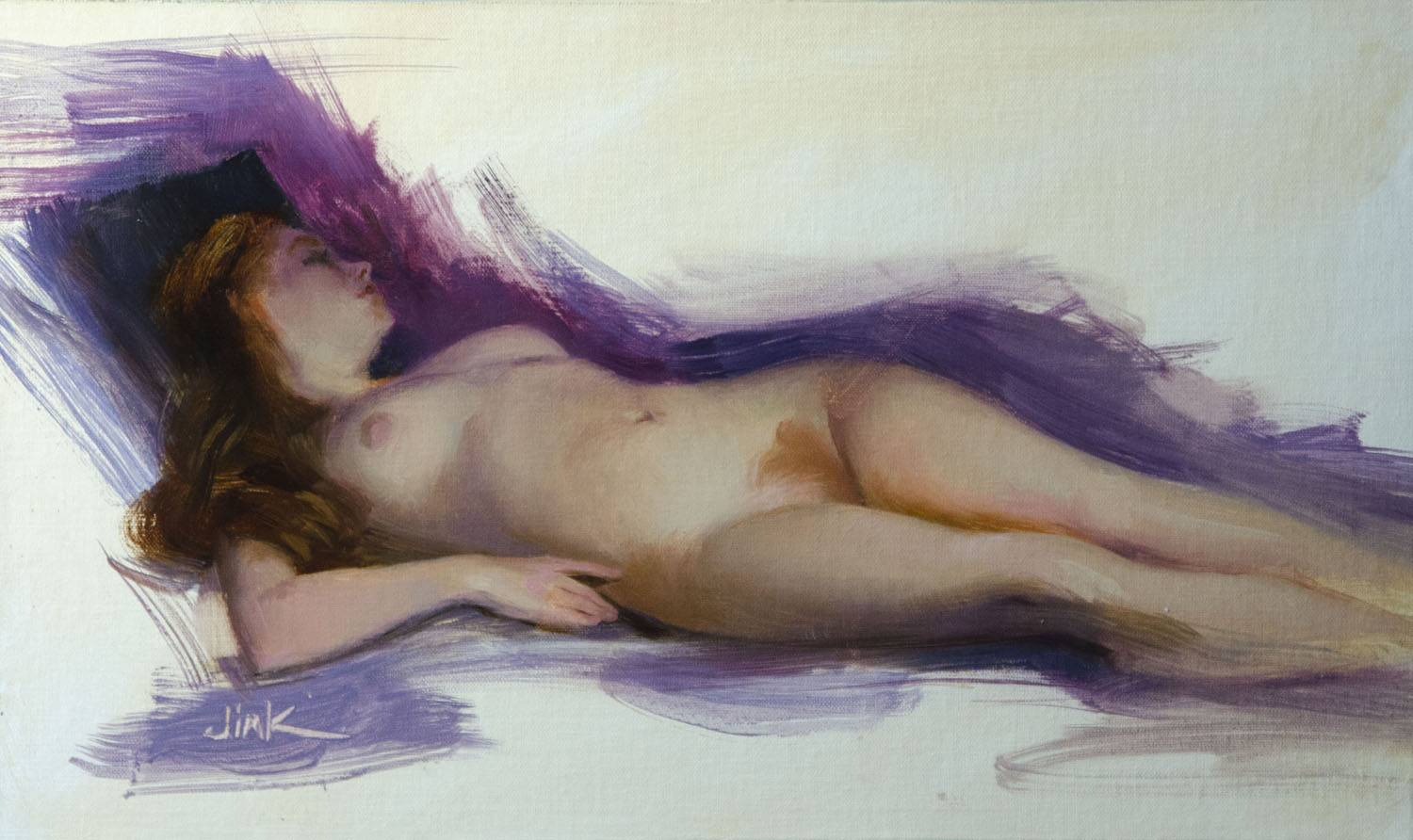 Reclining M  Oil on canvas, mounted, 9 x 15.5  $450