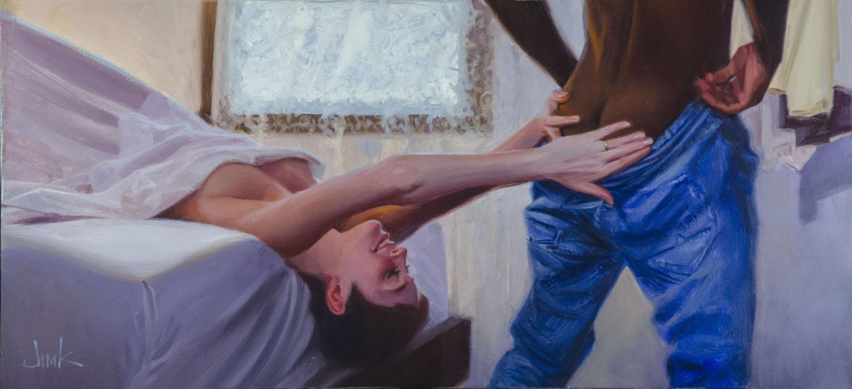 Don't Go  Oil on canvas, 14 x 30  $1200 framed