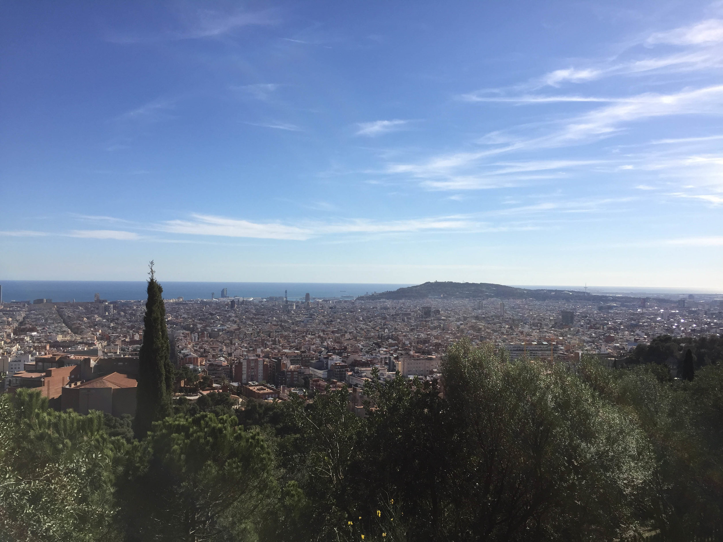 The view from the top of Parc Guell