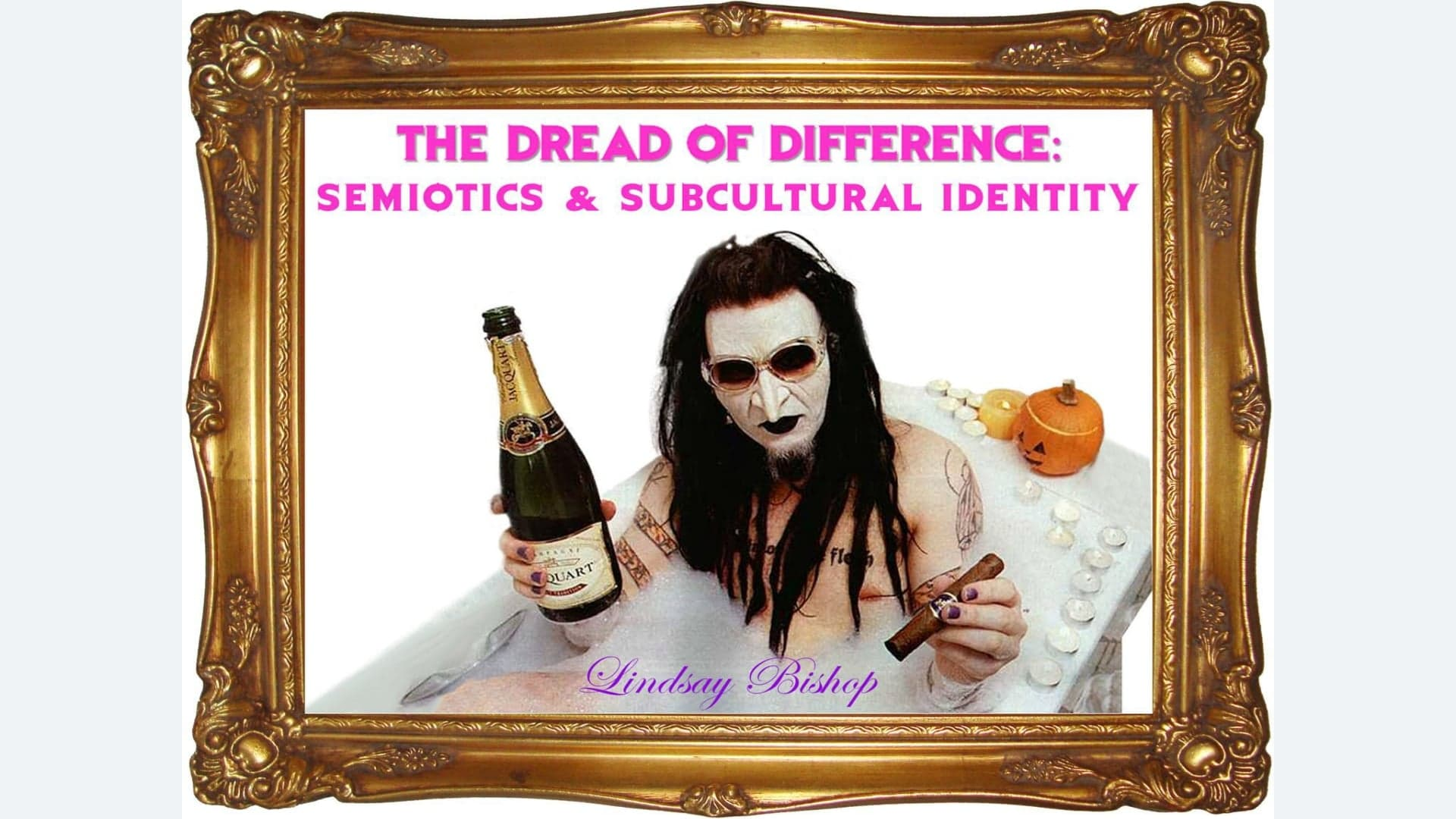 The Dread of Difference: Subcultural Semiotics and Identity - ONGOINGThe human understanding when it has once adopted an opinion (either as being the received opinion or as being agreeable to itself) draws all things to support and agree with it. (Bacon, F 'Novum Organum': 1620)Subcultures and mainstream culture have a conflicting yet symbiotic relationship; each relies on the other to exist, yet they are fundamentally opposed to each other. Due to the very conscious and deliberate decision to reject sanctioned visual media, subcultures occupy a distinct position in relation to mass media and its influence. Specifically, this lecture will question some of the common assumptions regarding the representation of subcultural communities, and highlight the broader cultural influence of these representations.Visual media is central to how we represent, make meaning, and communicate in the world around us. Therefore, as cultural practitioners it is crucial to develop a more sophisticated understanding of how these images are used to communicate; what they intend to represent; who they are directed toward; and how they are received.