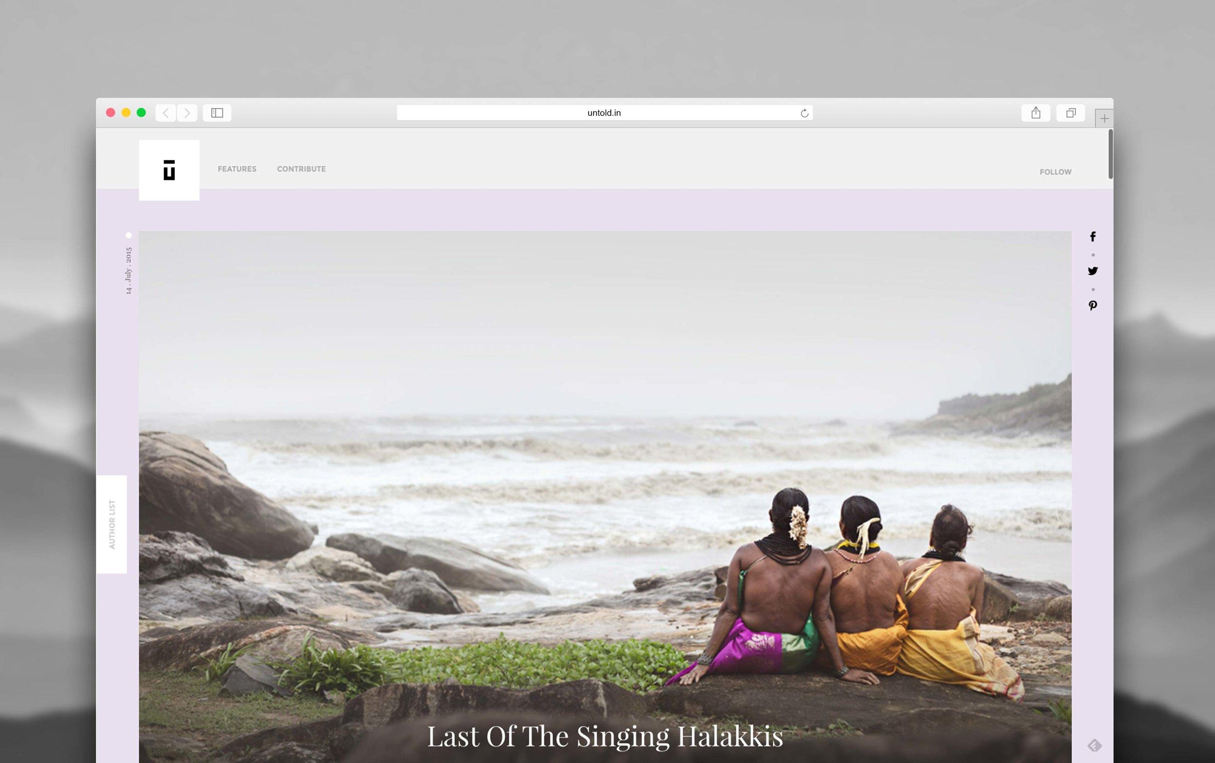 untold website design mock up