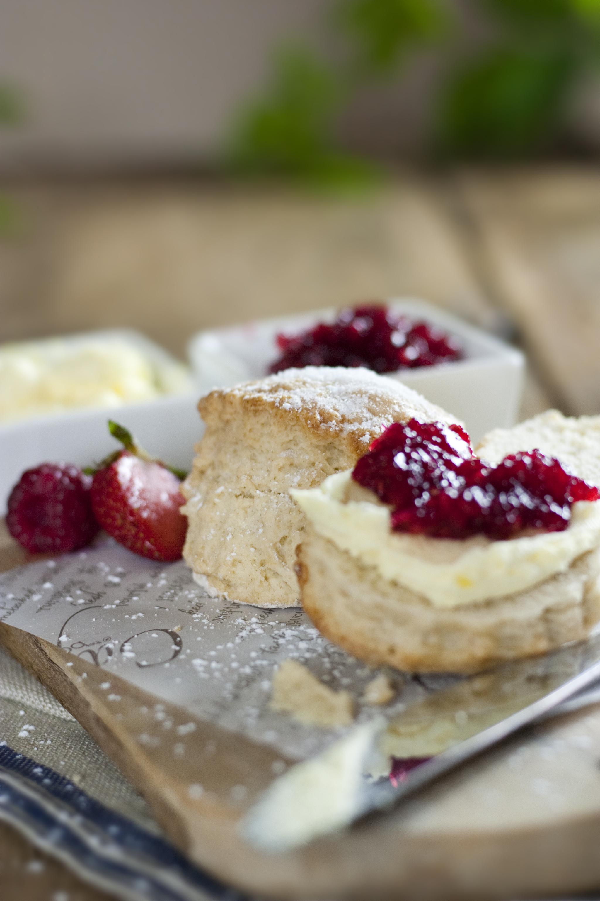 Photo of scones with cream and jam