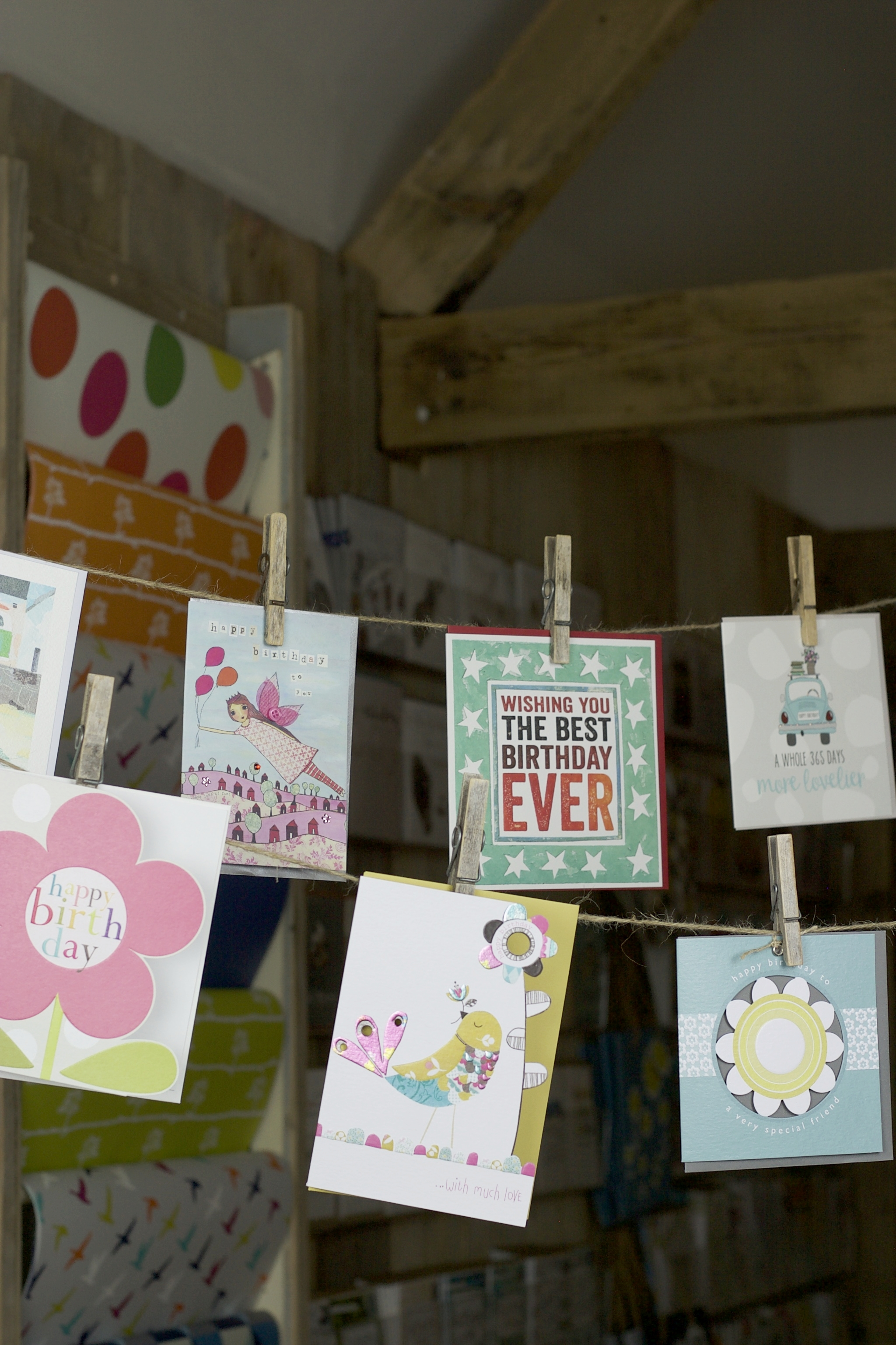 The card room displaying contemporary greetings cards including designs by Cinnamon Aitch and Dandelion Stationery.