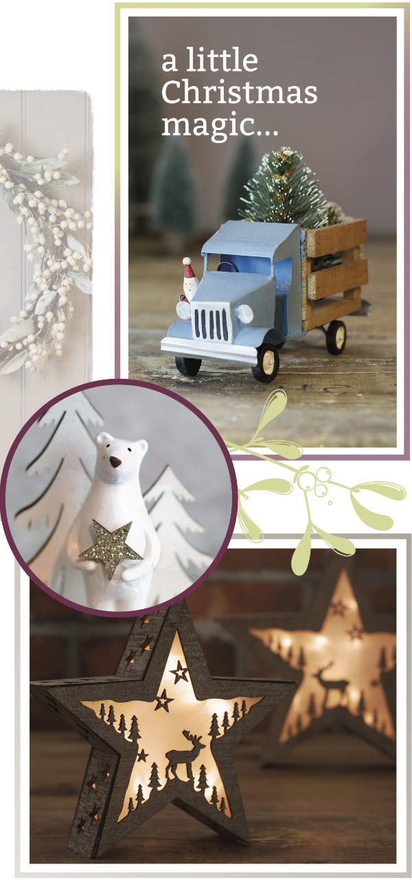 Toy truck, polar bear and lighted stars