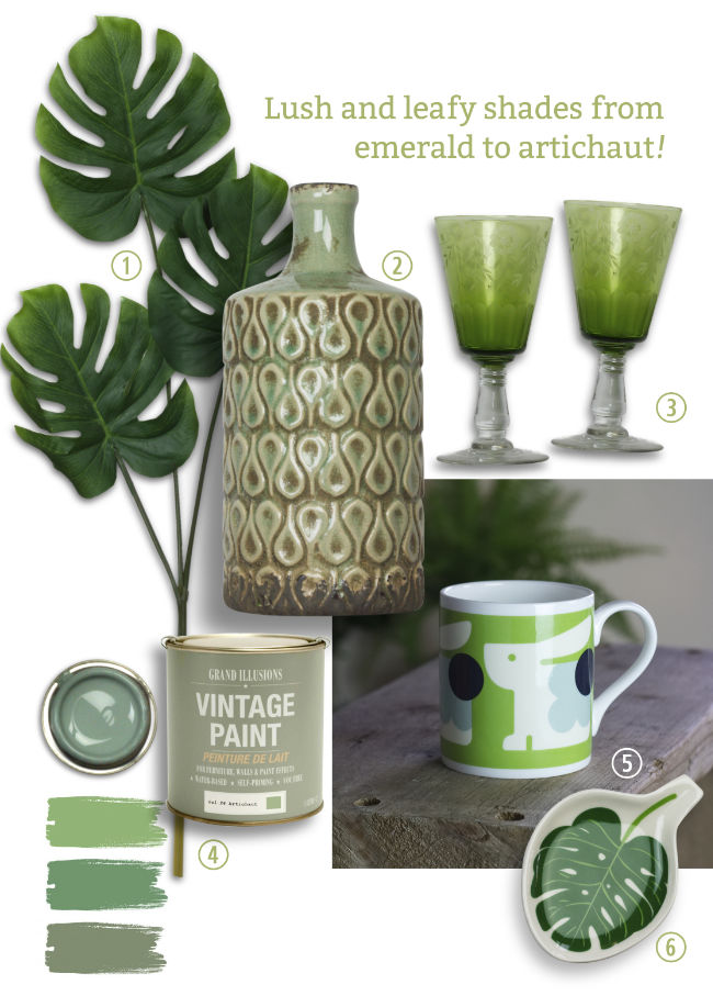 A selection of green products. A vase, etched wine glasses, an Orla Kiely mug, a Caroline Gardner Trinket Bowl and Vintage Paint in green shades.