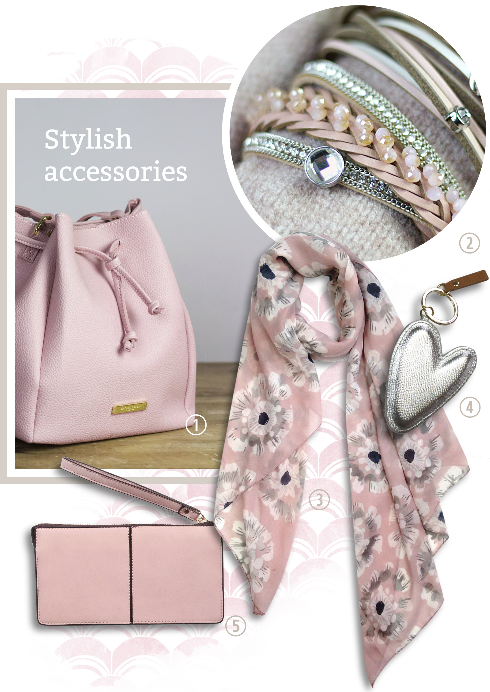 Stylish accessories. A pink handbag and purse, a scarf and bracelets.