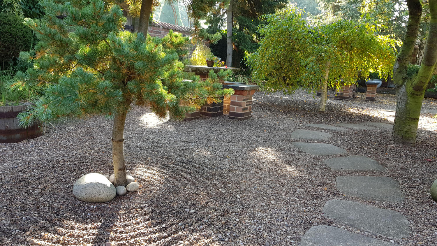 The Japanese-style tea garden with raked gravel around the trunk of a tree.