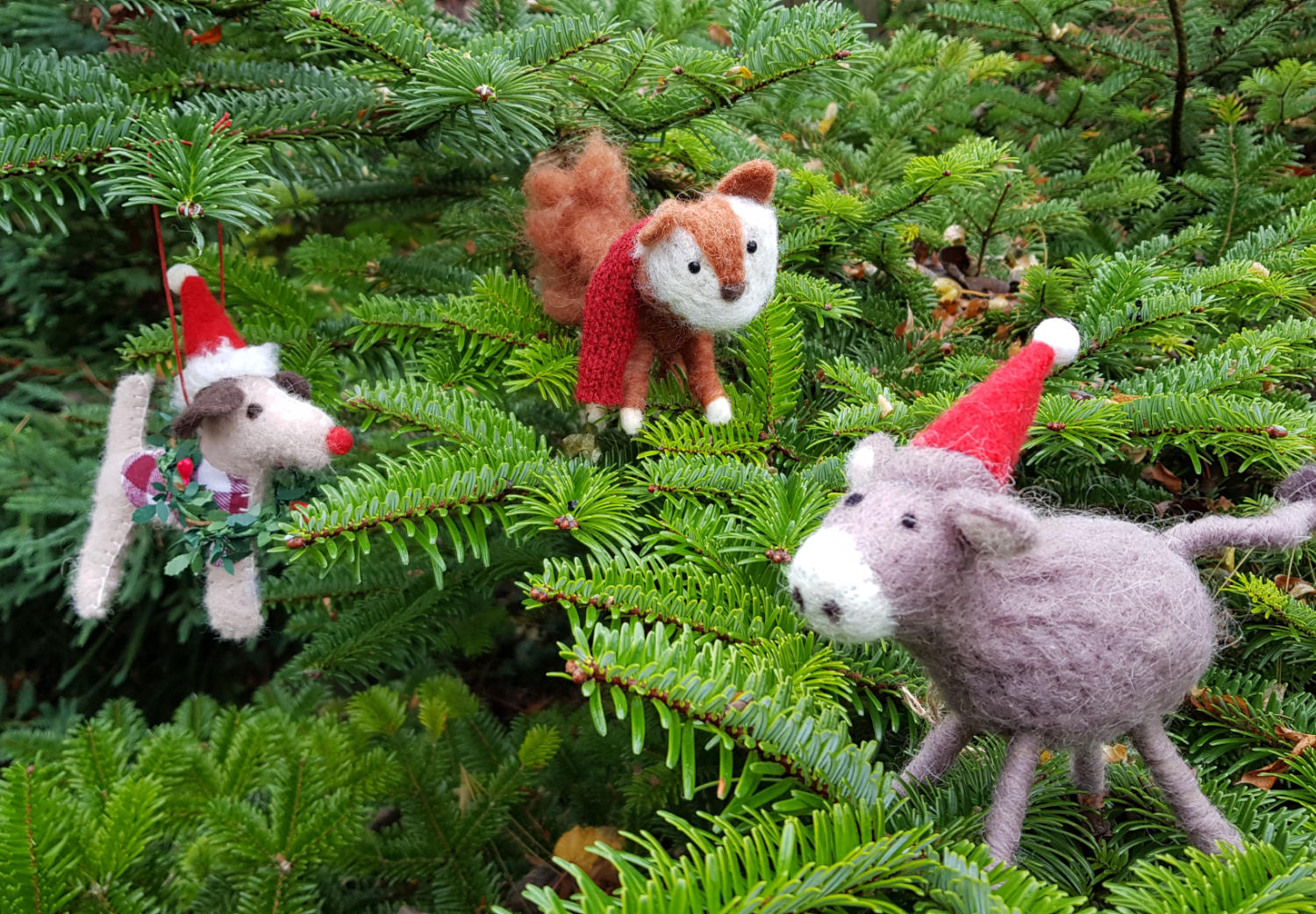 Christmas critters - Foxy Fox, Trevor Terrier and Derek Donkey.