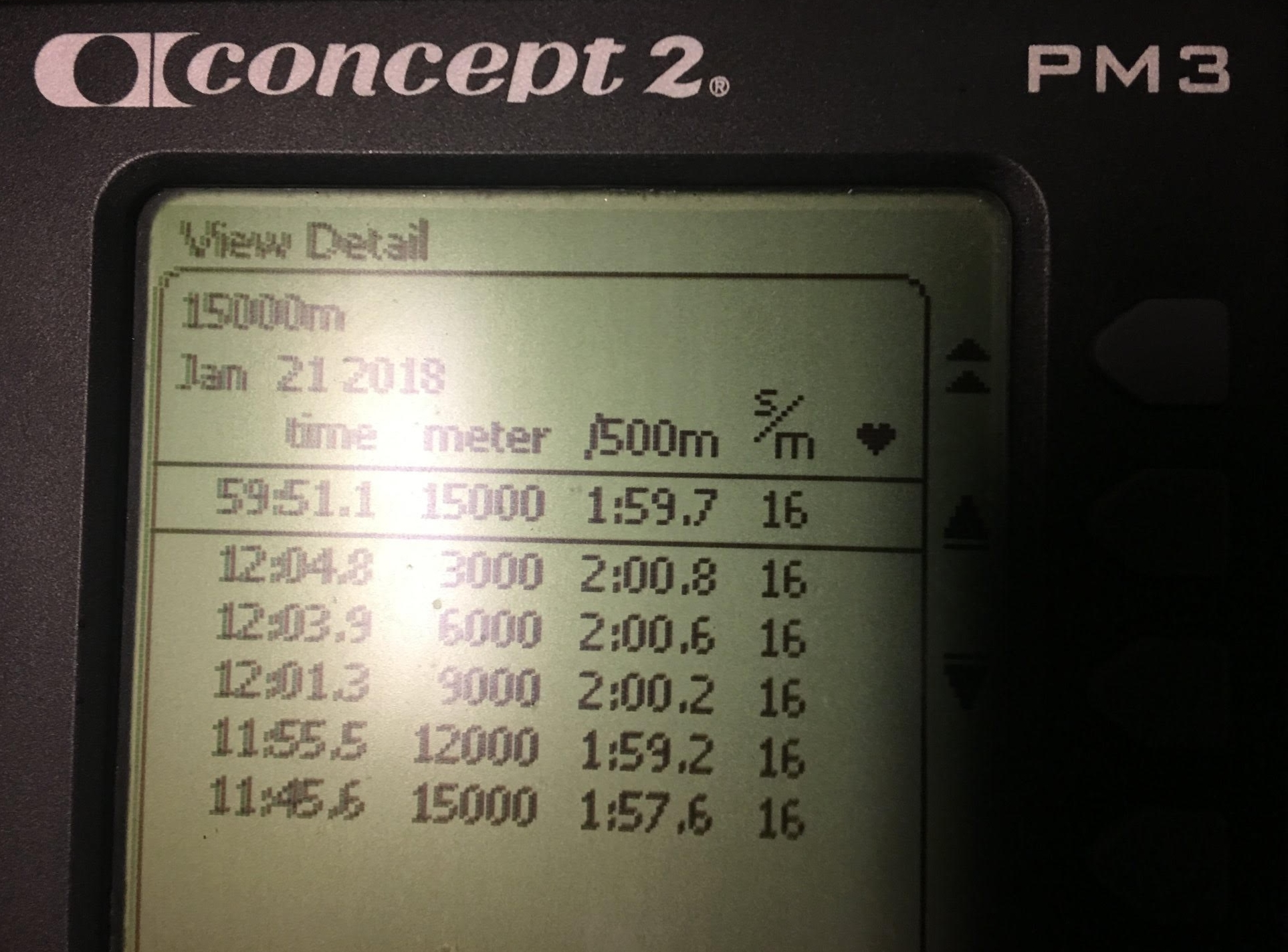 Example workout summary from a erg
