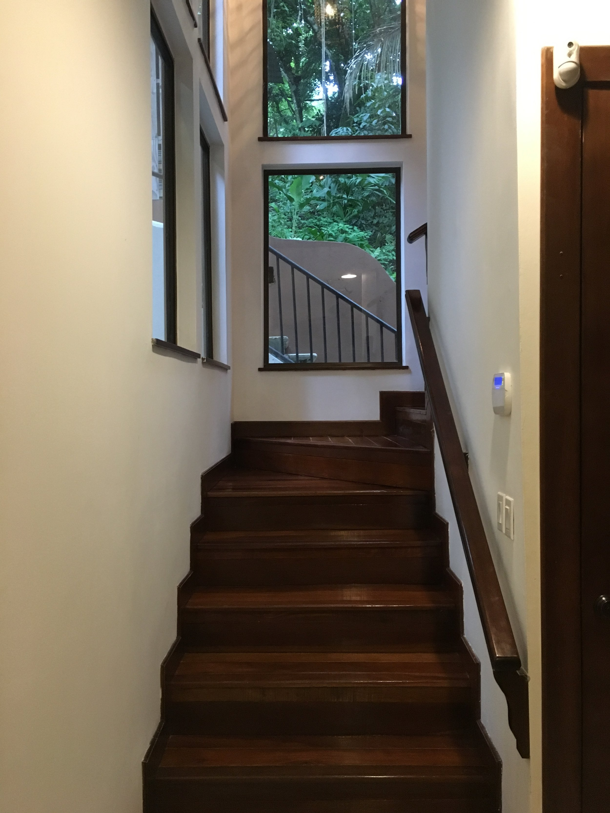 Stairs up to the living area