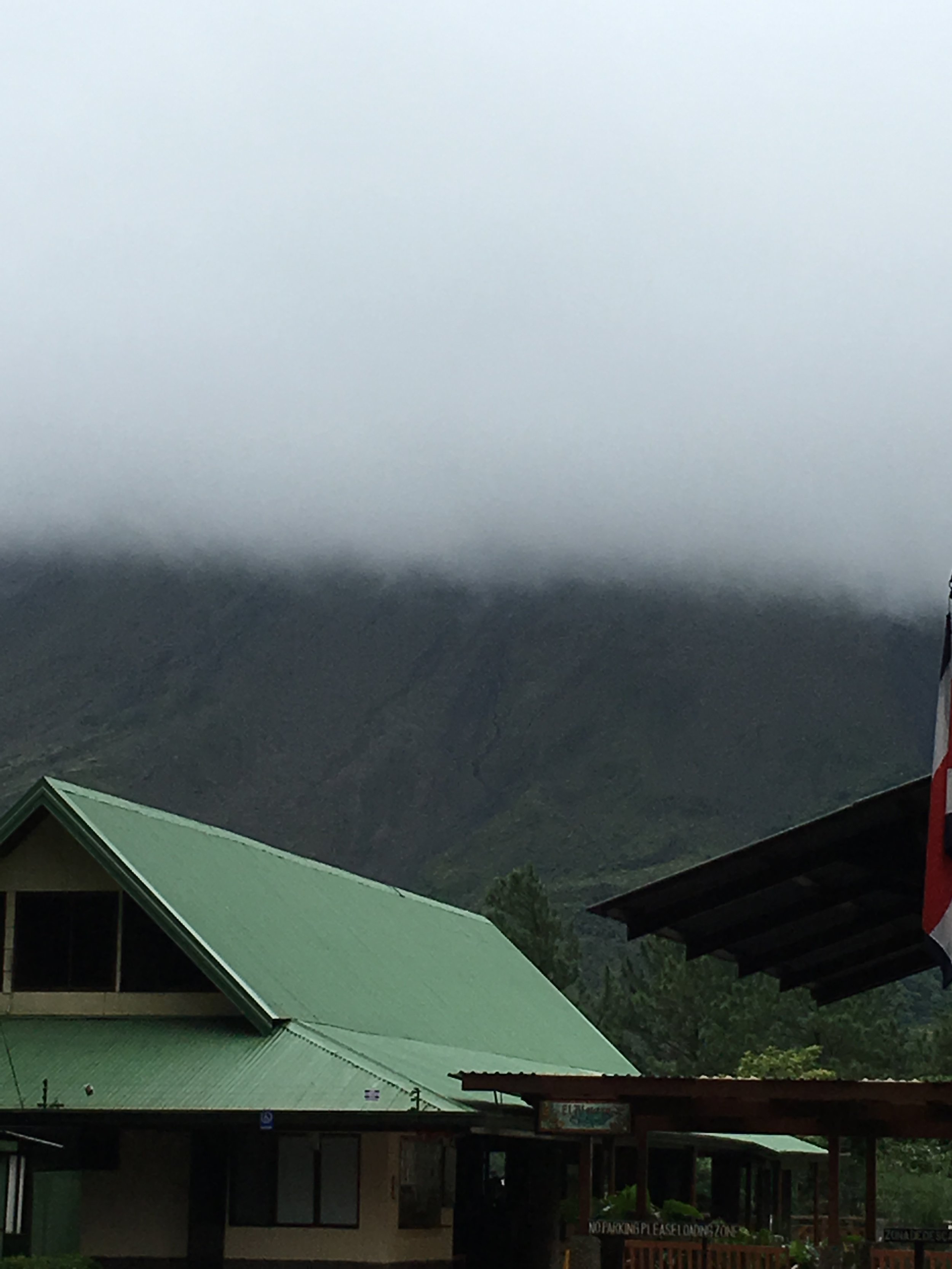 View of clouds over volcano at Arenal Lodge