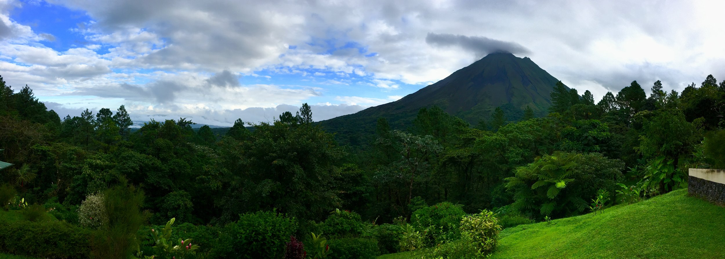 View of Arenal lake and volcano from Arenal Lodge
