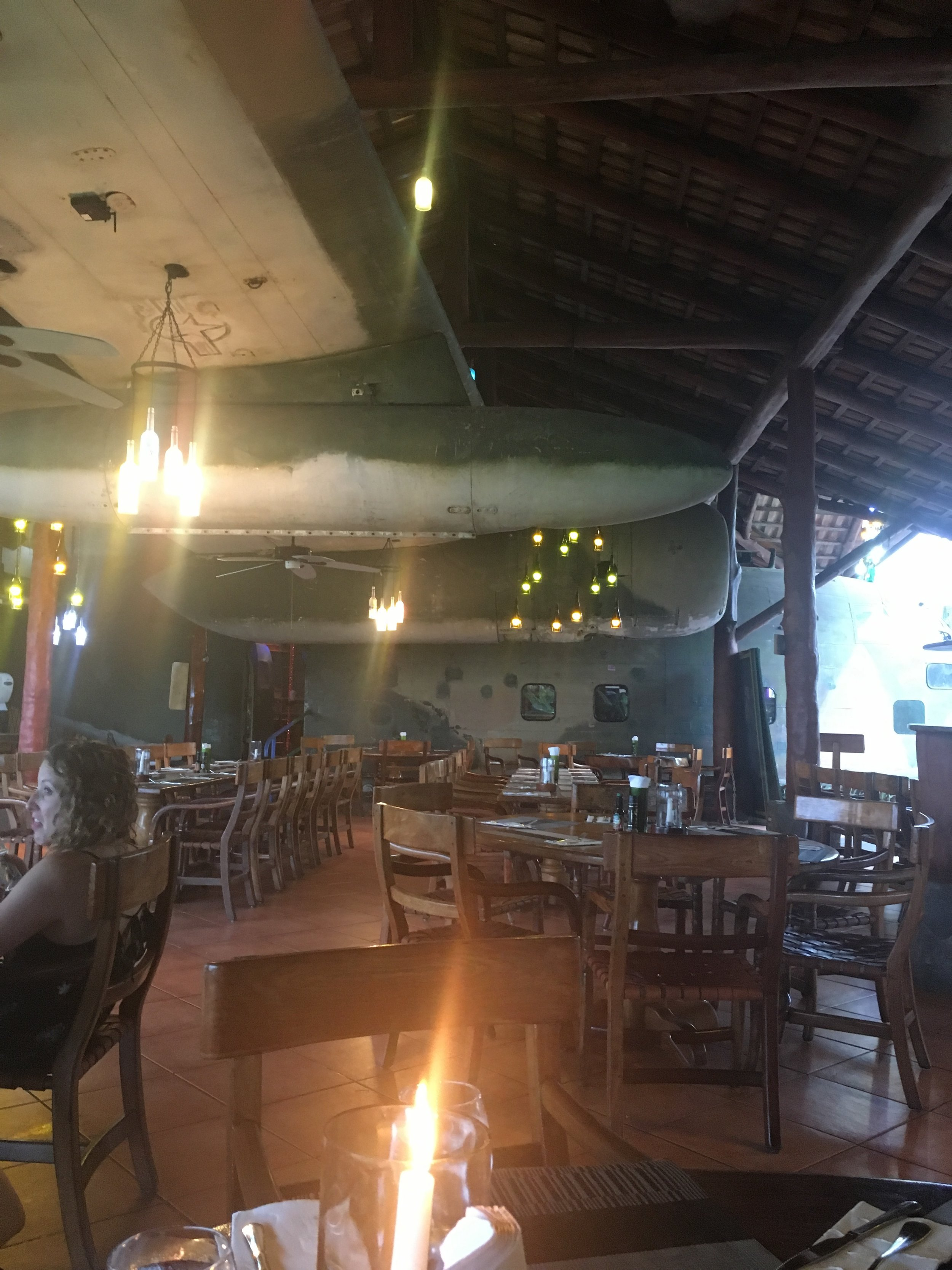 El Avion in Manuel Antonio, which features a C-123 Fairchild cargo plane that's been converted to a two level bar and restaurant