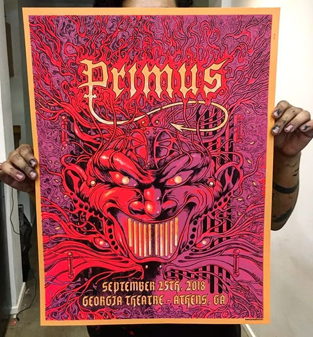 Check out this @heavy.hand @primusville poster we printed for their SOLD OUT show at the Georgia Thetre tonight. If you were lucky enough to get a ticket to this show go check out the insane detail Mark Richards put into this thing. #screenprinted #gigposter #primus #dirtyhands
