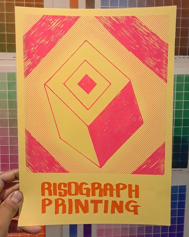 Ran a print off the #risograph today. @kittiesandbullshit did a great job tuning her up! Come by @theprintshopla this week to try it out. #Printordie