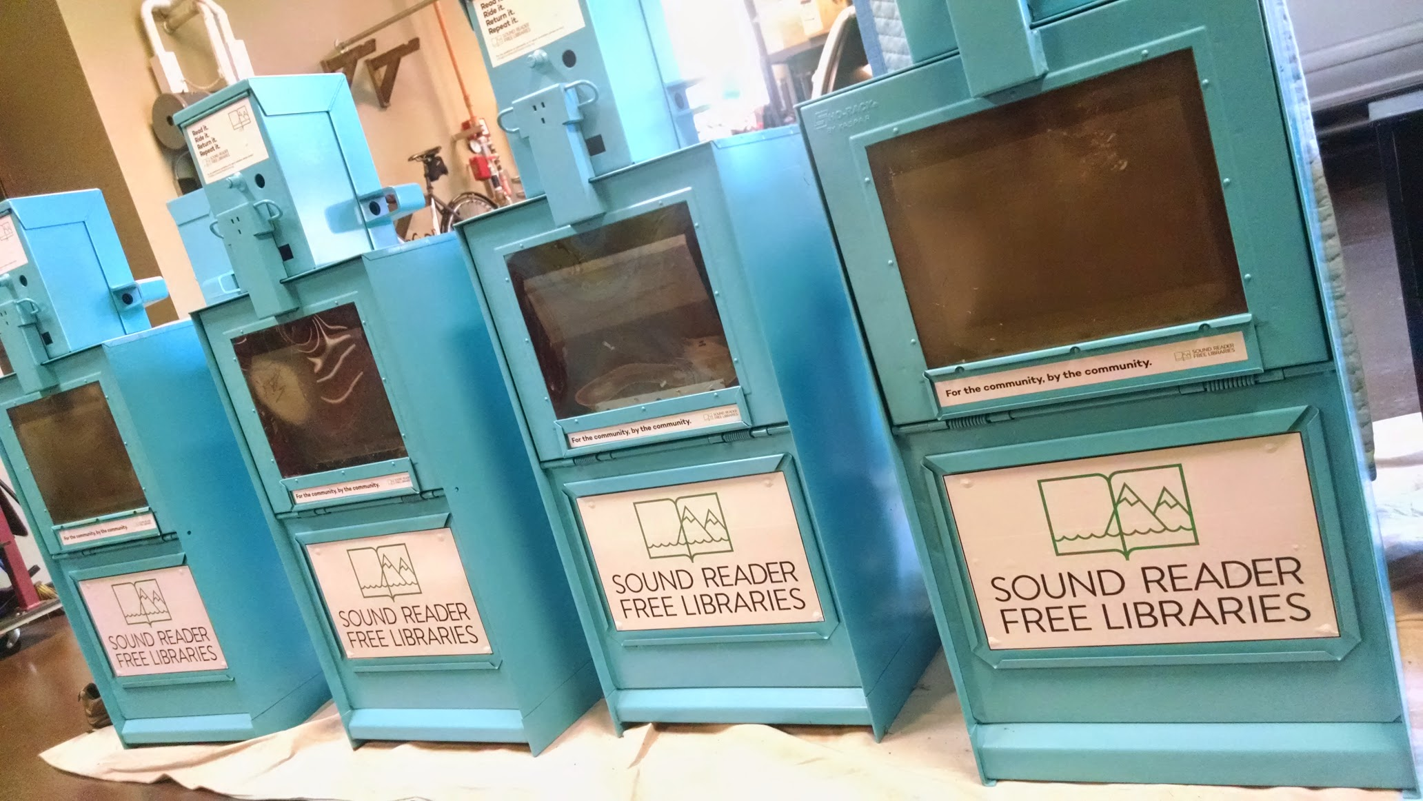 Repurposed and repainted Seattle PI newspaper boxes