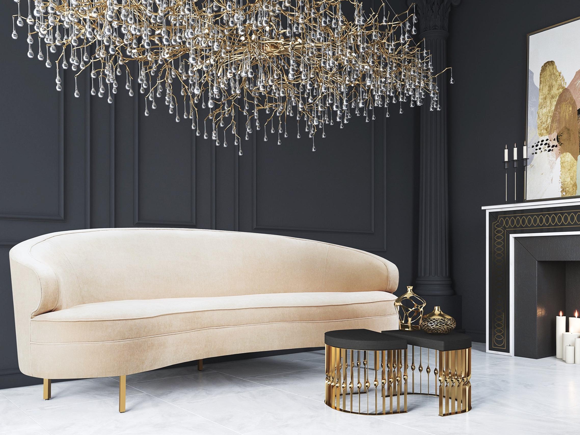 Tov Furniture Balia Collection Velvet Upholstered Midcentury Modern Sofa