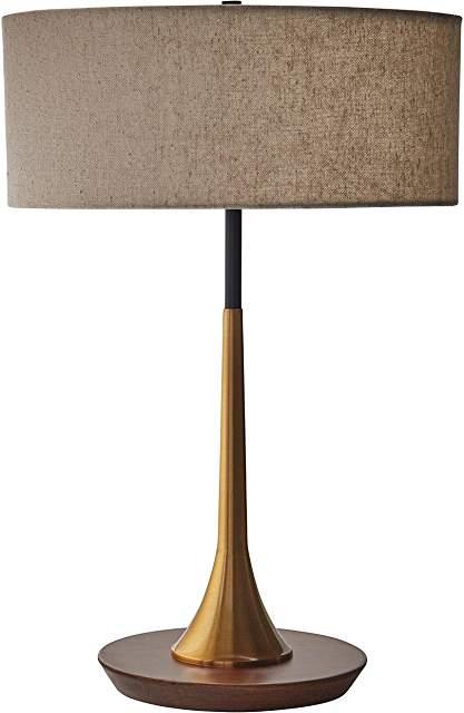 Rivet Mid-Century Mod Brass & Walnut Table Lamp