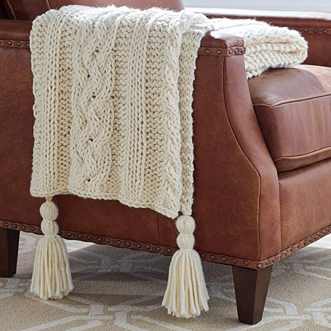 Cable Knit Chunky Weave w/ Tassels