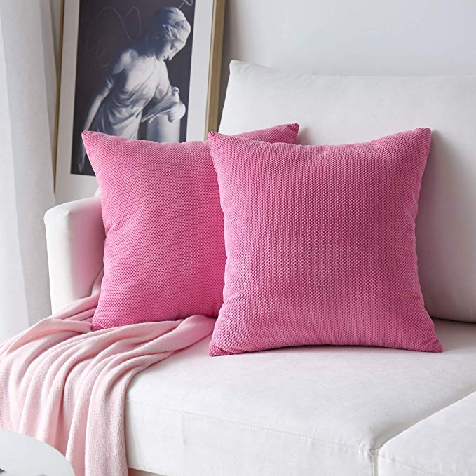 Coral Pink Waffle Courderoy Euro Pillows