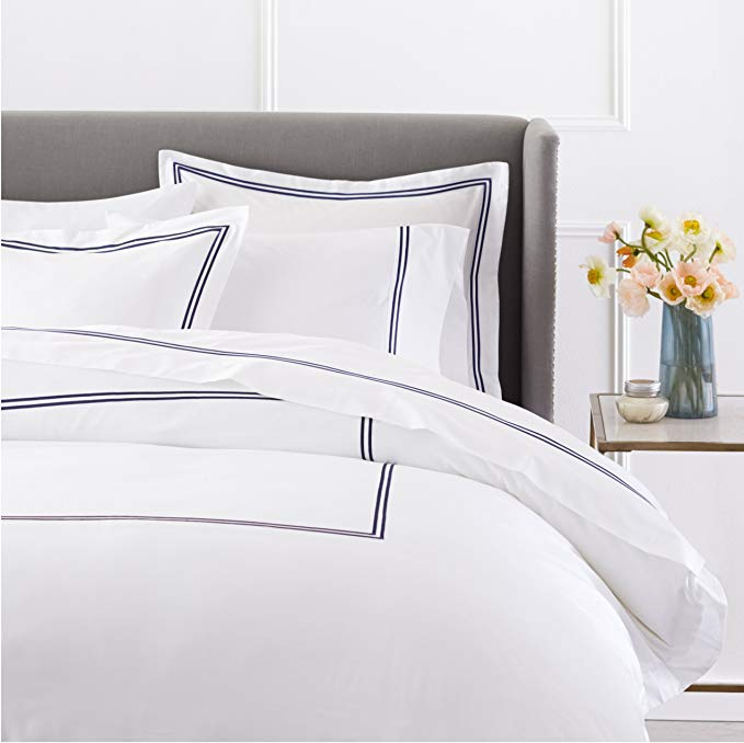 Sateen Cotton Hotel Stitch Duvet Cover