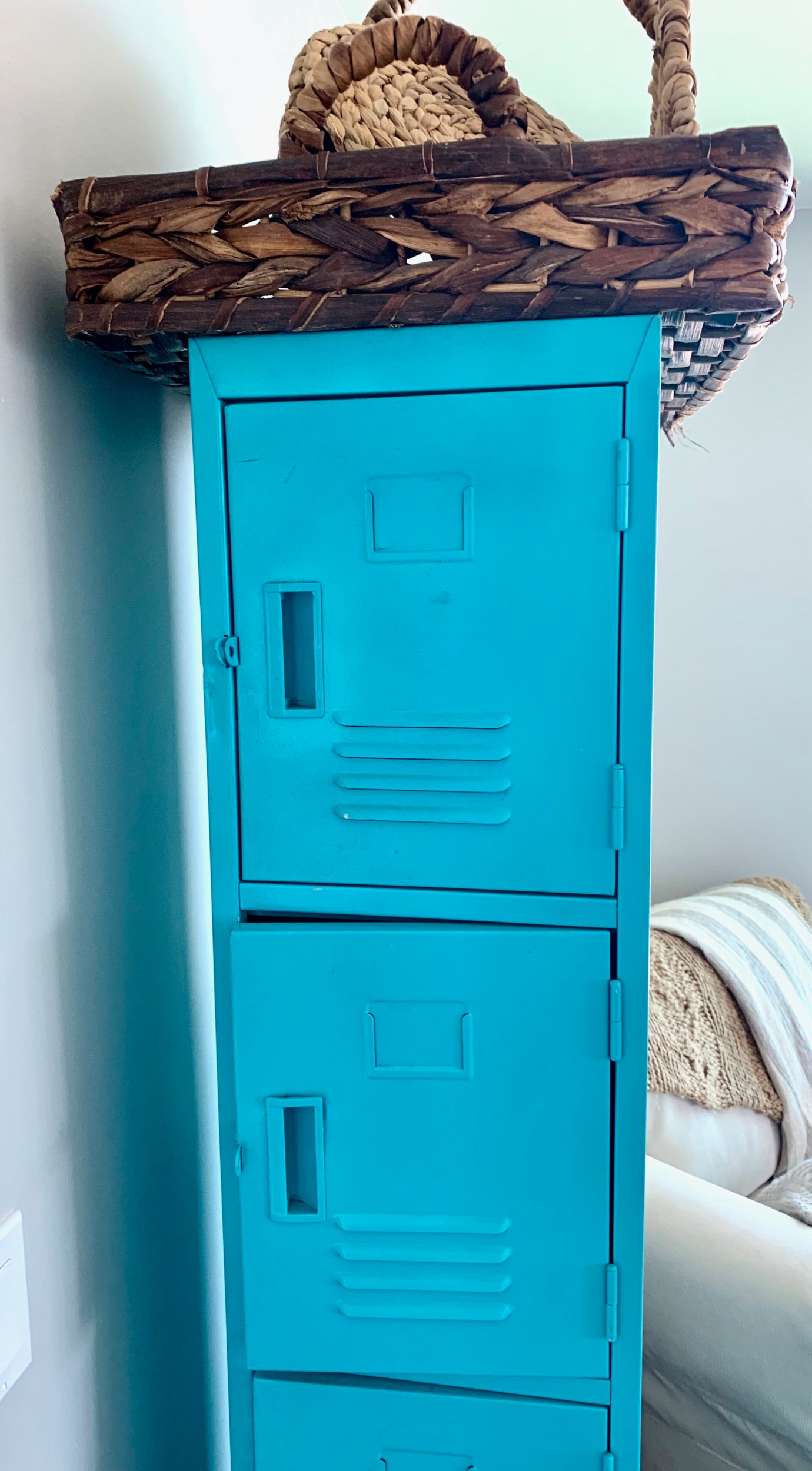 Aqua lockers… Firewood holder turned office supply closet turned pantry… Now what?