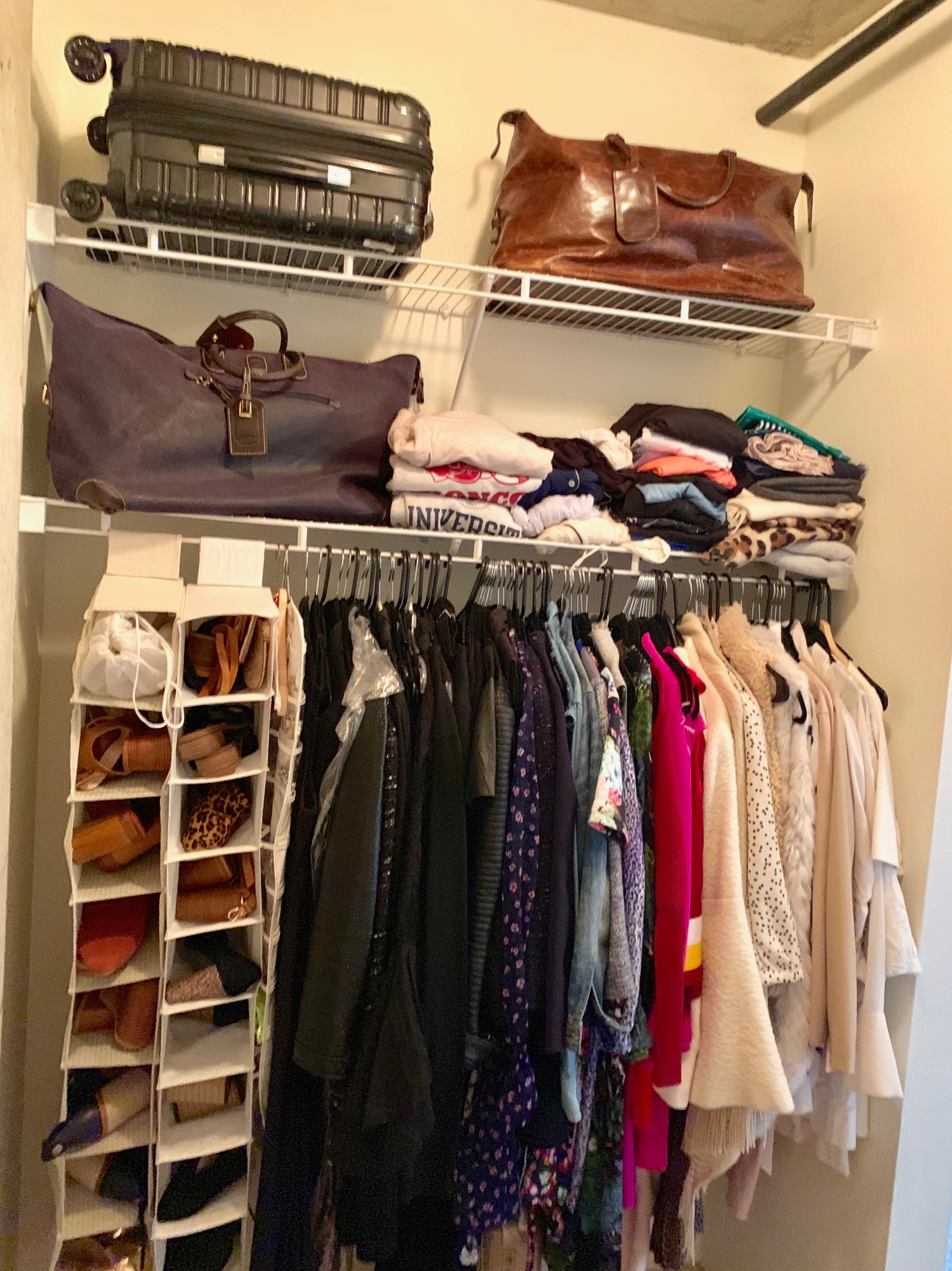 Current closet status… Formerly 4x the quantity of what you see here. (Disclaimer: my handbags, boots & two containers of winter clothes not shown)… So freeing to let go.