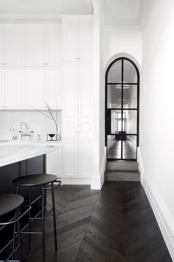 Herringbone patterned flooring creates a strong foundation and contrast against the otherwise very minimalist, modern aesthetic.  Courtesy of Pinterest