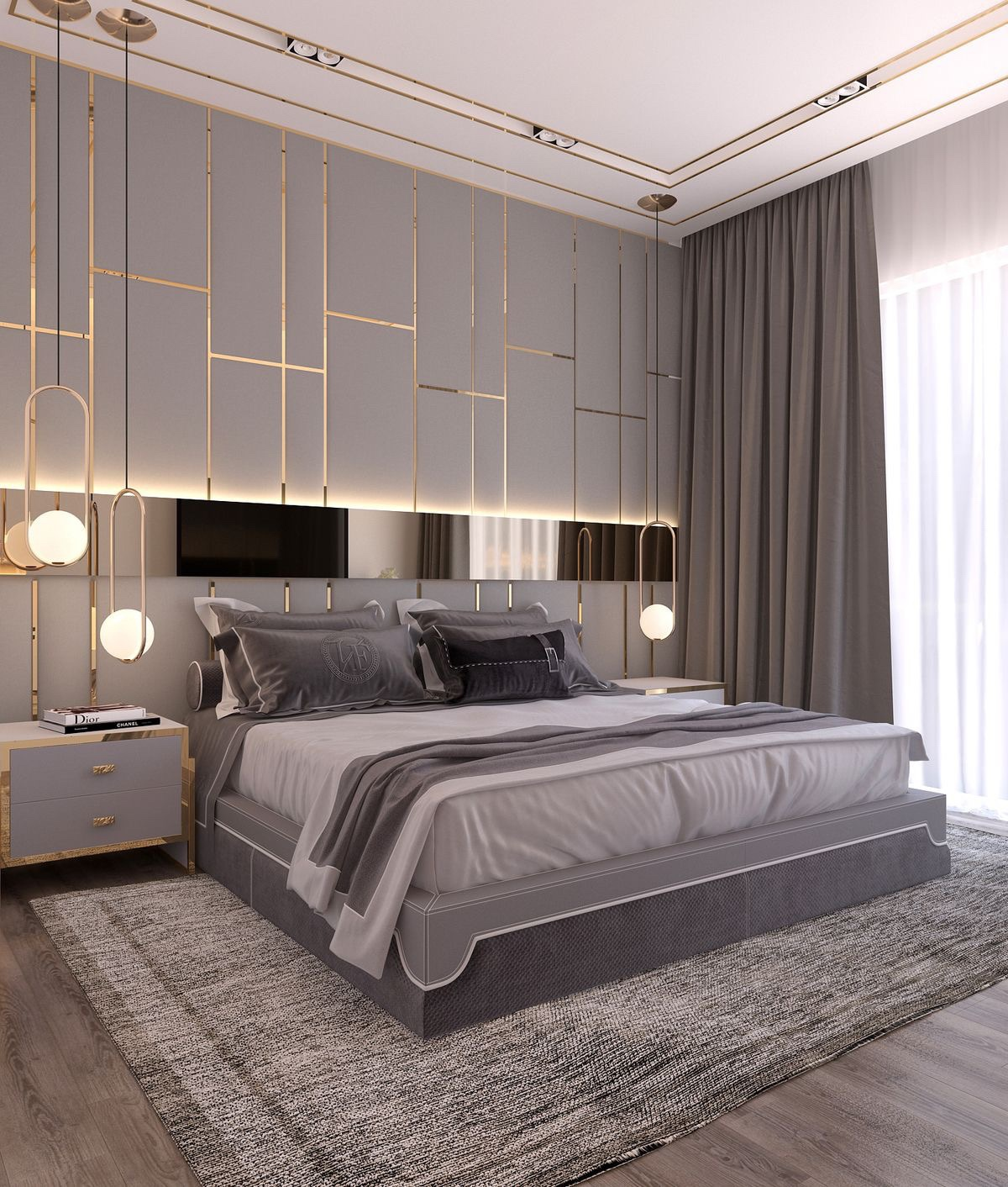This bedroom is made far more interesting with the addition of the brass detailing, mirrored panel and textured rug.   Courtesy of Pinterest