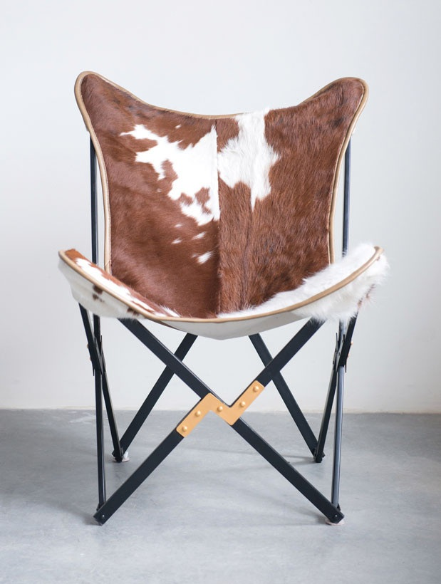 Cowhide Folding Butterfly Chair