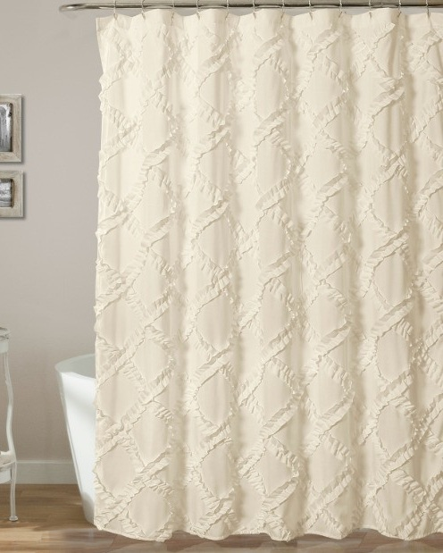 Ivory Diamond Ruffle Shower Curtain