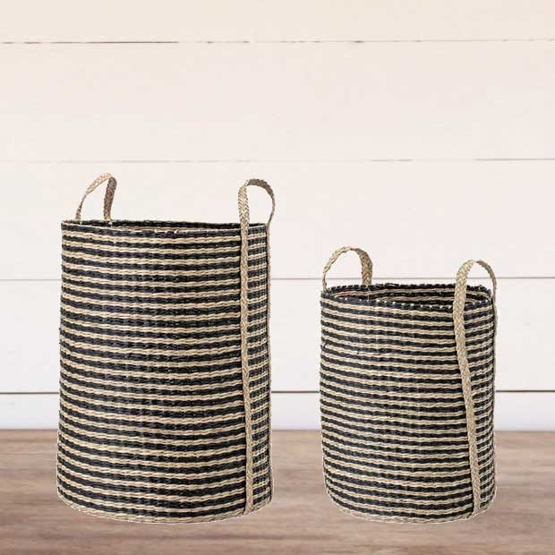 Striped Seagrass Baskets (set of 2)