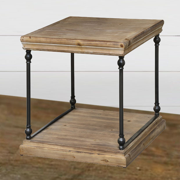 Metal & Wood End Table