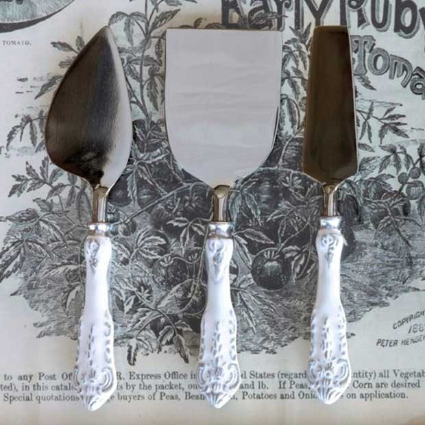 Set of 3 Elegant Enamel Cheese Servers